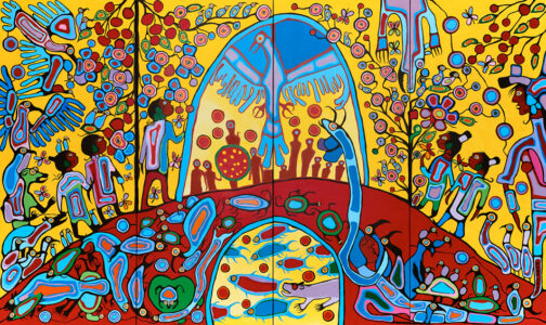 Norval Morrisseau. <em>Androgyny</em>, 1983. Acrylic on canvas elements: unframed: 365.7 x 609.6 cm. Collection of the Crown-Indigenous Relations and Northern Affairs Canada. GC Indigenous.
