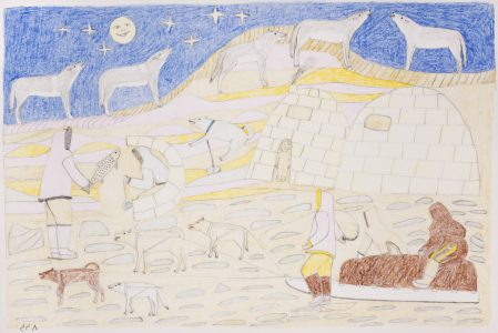 Mary Yuusipik Singaqti. Wolves, 1999-2008. Coloured pencil, graphite on paper. Winnipeg Art Gallery, Acquired with funds from a dedicated donation from Marnie and Karen Schreiber, 2015-27
