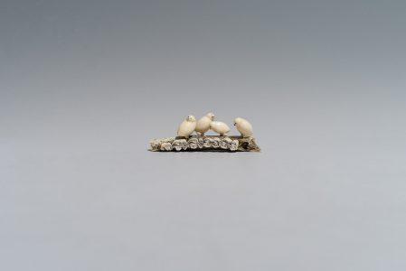 <b>Sabina Qunqnirq Anaittuq</b>. <i>Birds</i>, 1969. Ivory, bone. Government of Nunavut Fine Art Collection. On long-term loan to the Winnipeg Art Gallery, NA 1076.