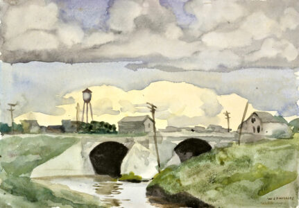 Walter J. Phillips.Bridge at St. Boniface, c. 1920–1939.watercolour on paper,17.6 x 25.3 cm.Collection of the Winnipeg Art Gallery;Gift of Robert and Margaret Hucal, 2003-132.