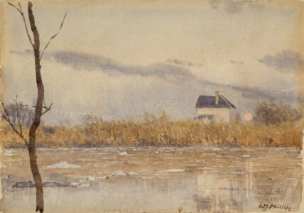 Walter J. Phillips.Ice on Red River, c. 1920.watercolour on paper,17.8 x 25.4 cm.Collection of the Winnipeg Art Gallery;Gift of Robert and Margaret Hucal, 2014-32.