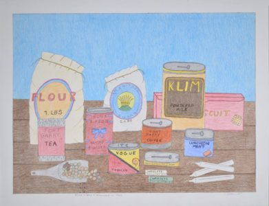 Omalluq Oshutsiaq. Store items I remember in the 1950's, 2014. graphite, coloured pencil, felt-tip pen on paper. Collection of the Winnipeg Art Gallery, Acquired with funds from the Estate of Mr. and Mrs. Bernard Naylor, funds administered by The Winnipeg Foundation Inc., 2015-134.