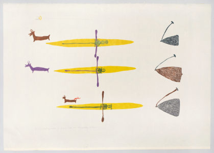 Luke Anguhadluq. The Men Hunting Caribou in Kayaks,1978. linocut and stencil on paper.Government of Nunavut Fine Art Collection, On long-term loan to the Winnipeg Art Gallery, 987.106.2.
