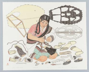 Kananginak Pootoogook. Printmaker: Pitseolak Niviaqsi. Making Sealskin Kamiks, 1987. lithograph on paper (sommerset), 22/50. Government of Nunavut Fine Art Collection, On long-term loan to the Winnipeg Art Gallery, 987.87.12.