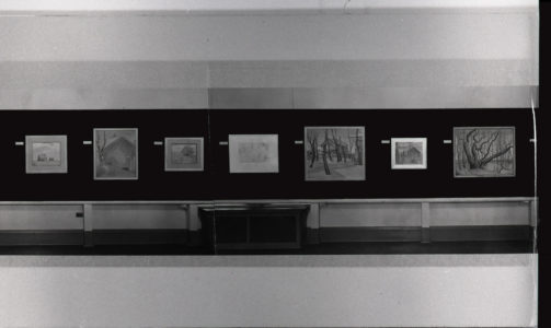Installation view of FitzGerald, 1890-1956: Memorial Exhibition at the Winnipeg Art Gallery, February 23-March 23, 1958. Lionel LeMoine FitzGerald fonds, PC 241 (A2009-016), Box 2, Folder 17 / University of Manitoba Archives and Special Collections, Winnipeg.