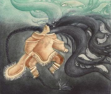 Germaine Arnattauyuq.Sedna, Ruler of All Sea Animals, 1994. etching, aquatint on paper, 18/50, 48.2 x 56.2 cm Image: 29.8 x 34.9 cm. Collection of the Winnipeg Art Gallery, Gift of Moira Swinton and Bernard Léveillé, 2019-316.