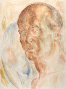Lionel LeMoine FitzGerald.Self-Portrait (with nude in upper left corner), c. 1945. watercolour on paper,60.9 x 45.7 cm.Collection of the Winnipeg Art Gallery;Acquired with funds from the Women's Committee and The Winnipeg Foundation, G-63-21.