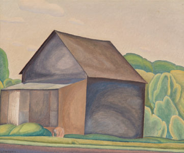 Lionel LeMoine FitzGerald.The Barn, c. 1930.oil on board,29.7 x 36.4 cm.Collection of the Winnipeg Art Gallery;Gift from the Estate of Arnold O. Brigden, G-73-327.