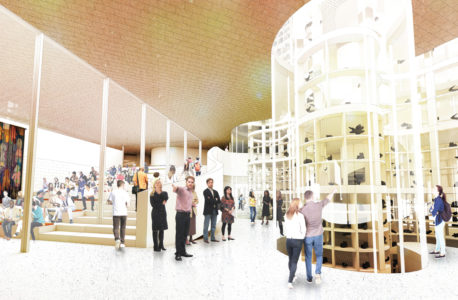 Visible Glass Vault in Qaumajuq, the Inuit art centre's Ilavut (Entrance Hall). Architectural Rendering Courtesy of Michael Maltzan Architecture