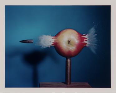 Harold Edgerton. Bullet Through Apple, 1984. Dye-transfer print. Winnipeg Art Gallery; Gift of Angela & David Feldman, the Menkes Family, Marc & Alex Musso, Tory Ross, the Rose Baum-Sommerman Family & Shabin & Nadir Mohamed 2013-88. Photo: Ernest Mayer. ©2010 MIT