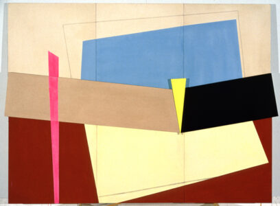 Elinor Elizabeth [Betty] Dimock. The Thin Edge of the Wedge, 1981. acrylic on canvas, wood, 173 x 229 cm. Collection of the Winnipeg Art Gallery; Gift of the artist, G-96-15.