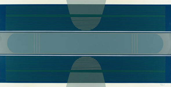 Tony Tascona. Blue Stratas, 1973. acrylic lacquer on aluminum, 91.2 x 182.6 cm. Collection of the Winnipeg Art Gallery; Gift of Mr. S. Drache, Q.C. and Mrs. Drache, G-74-9.