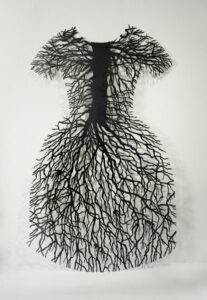 Barb Hunt. root dress, 1994–1995. steel, 203.2 x 114.3 cm. Collection of the Winnipeg Art Gallery; Acquired with the support of the Canada Council for the Arts Acquisition Assistance Program/Oeuvre achetée avec l'aide du programme d'aide aux acquisitions du Conseil des Arts du Canada and with funds from The Winnipeg Art Gallery Foundation Inc., G-96-13.