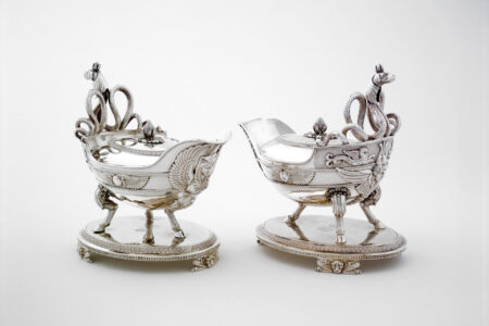 Digby Scott and Benjamin Smith for Rundell, Bridge & Rundell (English, 19th century), Designer: Jean-Jacques Boileau, attributed to, French. Sauce boat on stand, 1806. silver; 22.8 x 14 x 22.6 cm. Collection of the Winnipeg Art Gallery; Gift of an anonymous donor, 2004-3 a-d. Photo: Ernest Mayer