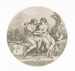 Angelica Kauffmann (Swiss/Austrian (born in Switzerland), 1741–1807). Mythological Figures, c. 1790. ink, wash on paper, 17.1 x 17.2 cm  Image: 14.7 x 14.7 cm. Collection of the Winnipeg Art Gallery; Gift from the Estate of Arnold O. Brigden, G-73-515. Photo: Ernest Mayer