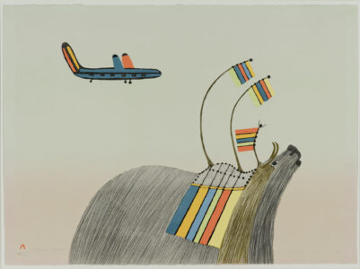 Pudlo Pudlat (Canadian (Cape Dorset), 1916–1992). Printmaker: Aoudla Pudlat, 1951–2006. In Celebration, 1979, lithograph on paper, 3/50, 56.5 x 76.5 cm. Image: 56.5 x 76.5 cm. Collection of the Winnipeg Art Gallery. Gift of Indian & Northern Affairs, Canada, G-89-1064. Photograph: Ernest Mayer, courtesy of the Winnipeg Art Gallery.
