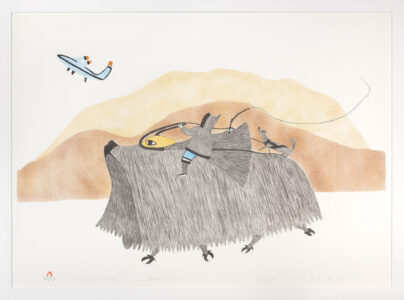 Pudlo Pudlat. Inuit (Kinngait), 1916-1992. Vision of Two Worlds, 1983. lithograph, stencil on paper, 11-50. Government of Nunavut Fine Art Collection. On long-term loan to the Winnipeg Art Gallery, 983.24.19