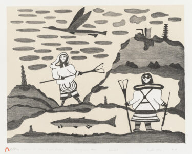 Pudlo Pudlat. Inuit (Kinngait), 1916–1992. Women At the Fish Lakes, 1977. lithograph on paper, 41/75. Government of Nunavut Fine Art Collection. On long-term loan to the Winnipeg Art Gallery, 984.13.7