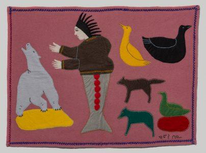Anisitina (Canadian (Unknown)). Fish Spirit and Animals, n.d.wool duffle, felt, embroidery floss,52 x 71.5 cm.Collection of the Winnipeg Art Gallery. Gift of Leah Erickson (aka Maureen Bereskin), 2018-210.Photo: Ernest Mayer.