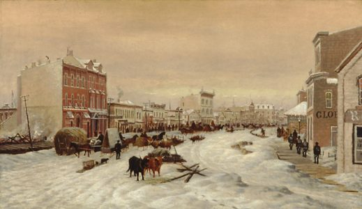 D. Macdonald, Winnipeg's Main Street, 1882, oil on canvas, on permanent loan to the WAG Collection from the City of Winnipeg, 859.96.