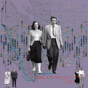 Rosalie Favell, Walking Through Time, 2021, lenticular photograph, 4' x 4'