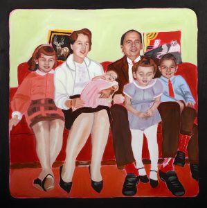 """Rosalie Favell, from an early age revisited: Family, 2015, oil on canvas, 24"""" x 24"""""""